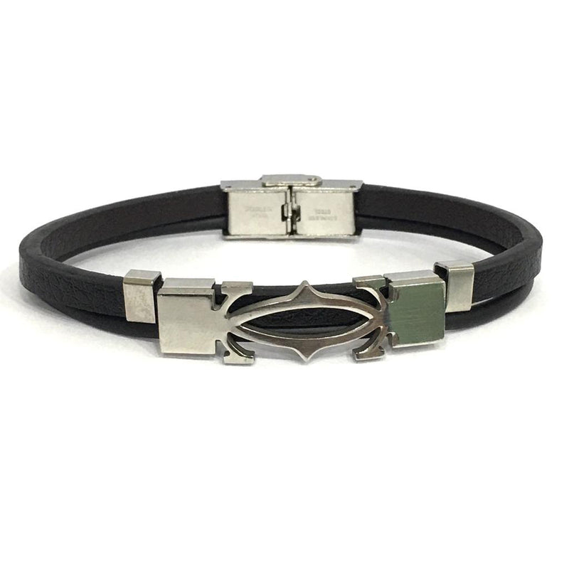 Silver Leather Charm Men Bracelet