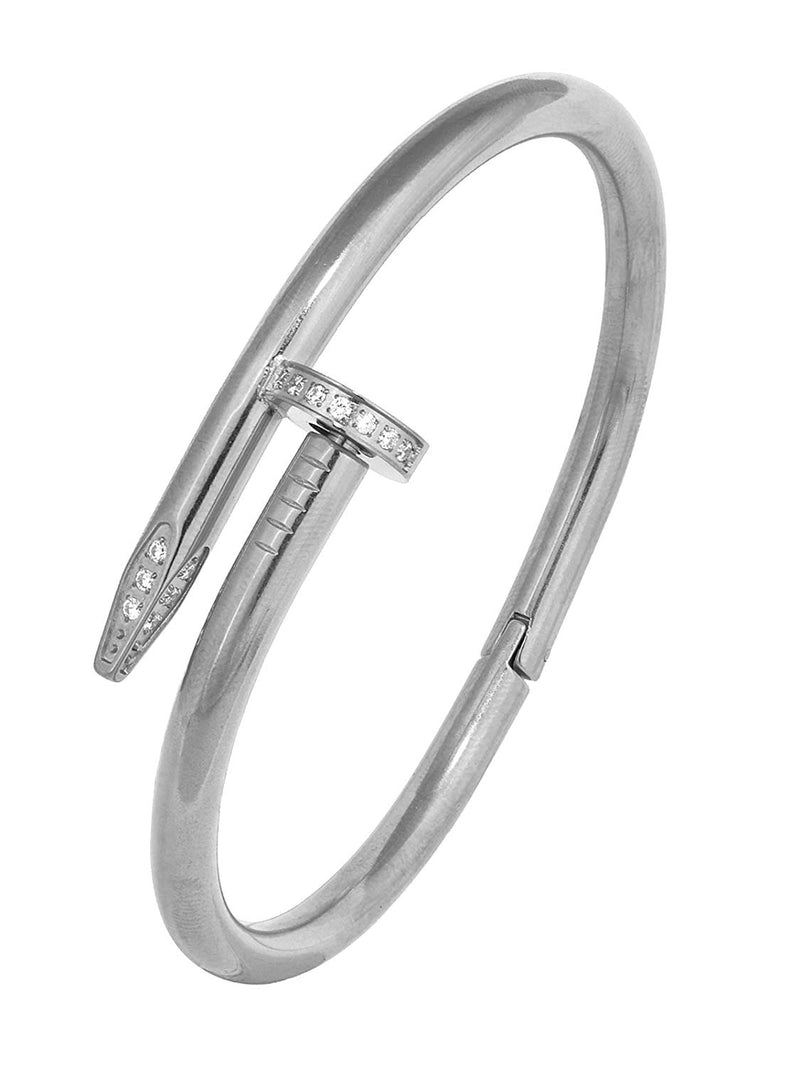 Silver/Gold Nail Bangle with Swaroski Crystals Bracelet
