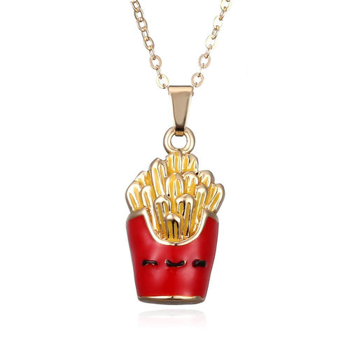 Digital Dress Room Red Cartoon French Fries Food Pendent Necklace