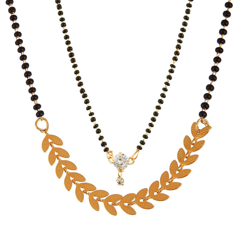 Digital Dress Room Short Mangalsutra Designs Gold Plated Latest Round American Diamond & Eila Leaf Two Mangalsutra