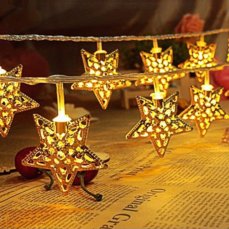 Golden Star Christmas Fairy Lights 20 pcs - DigitalDressRoom