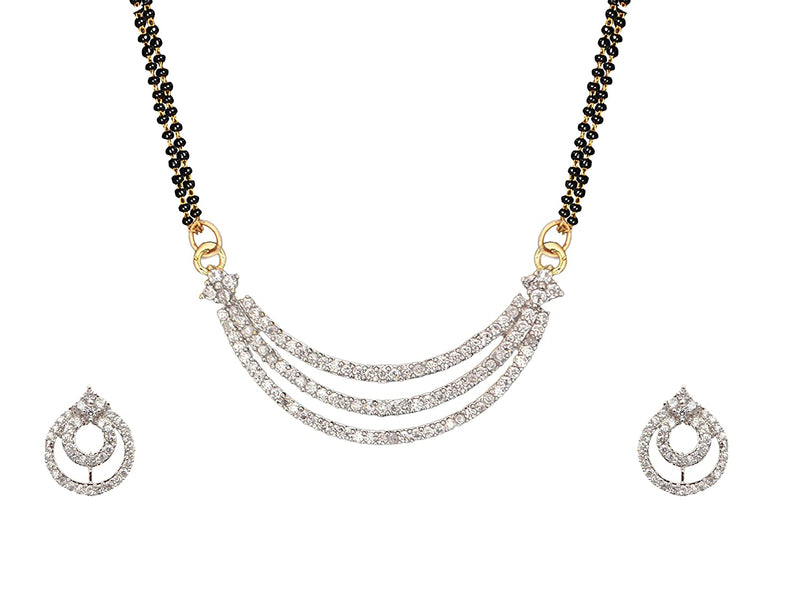 Digital Dress Room Short Mangalsutra Designs Set Gold Plated Latest American Diamond Mangalsutra & Earrings