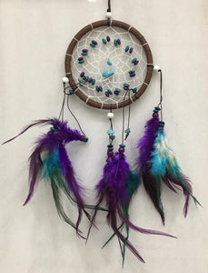 Dream Catcher Wind-Chime Purple White Feather Decoration