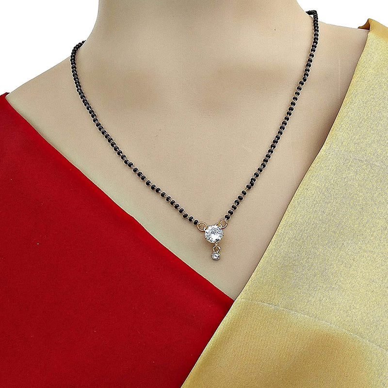 Digital Dress Room Short Mangalsutra Designs Gold Plated Latest American Diamond Round Pendant Mangalsutra