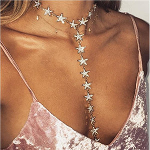 Crystal Star Choker Collar Necklace