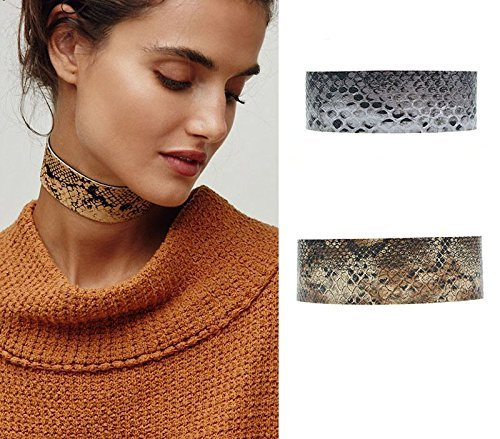Grey/Brown Wide Pink PU Leather Snake Chokers Necklaces - DigitalDressRoom