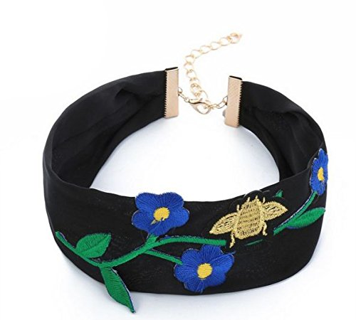 Embroidery Flowers Bee Silk Ribbon Choker Necklaces