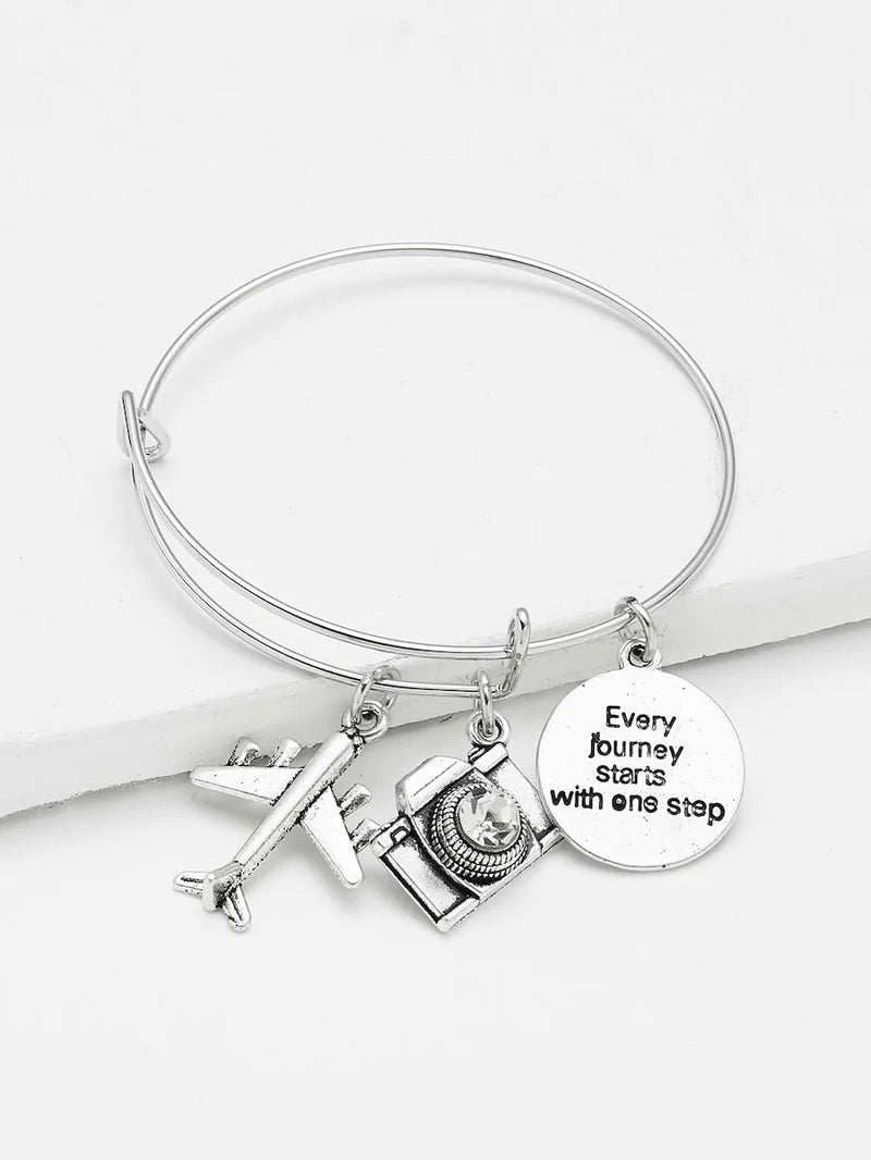 Camera Aircraft & Quote Pendent Bracelet