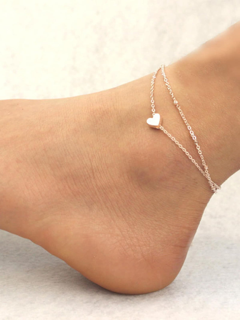 Digital Dress Room Love Heart Shape Ankle Bracelet