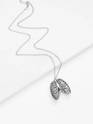 Silver Bone Pendant Chain Necklace - DigitalDressRoom