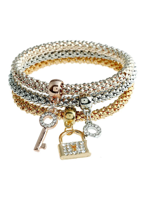 Digital Dress Room 3pcs/set Lock & Key Charm Bracelet