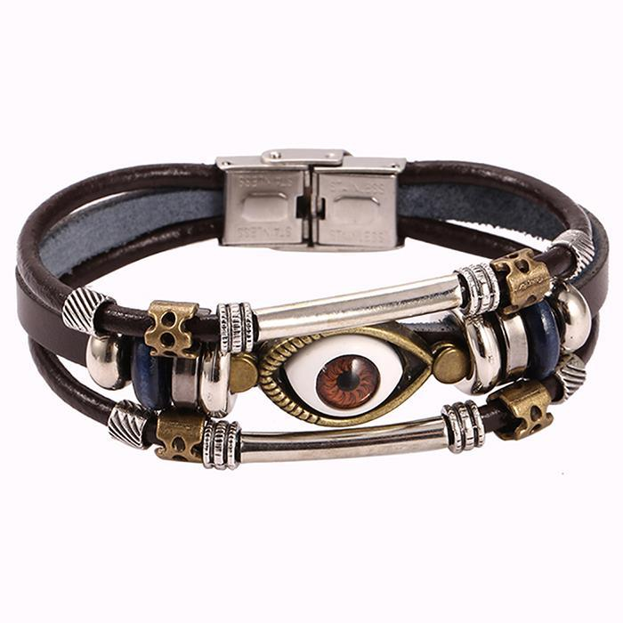 Eye Shaped Beaded Unisex Multilayer Bracelet