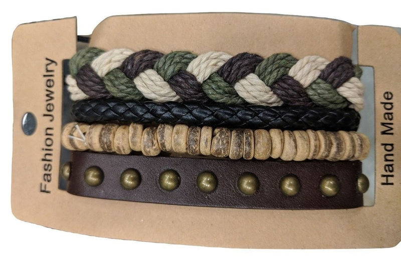 Men Bracelet Accessories Multilayer Multi color Leather and cord Braded Wrap Wrist Bands - DigitalDressRoom