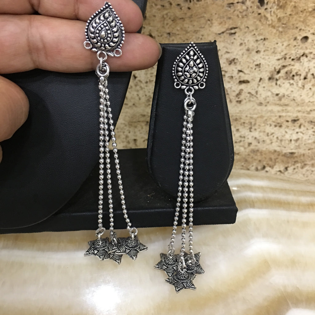Silver Plated Long Kashmiri Star Jhumki Earrings