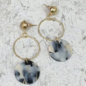 Shaded Danglers with Gold Earrings