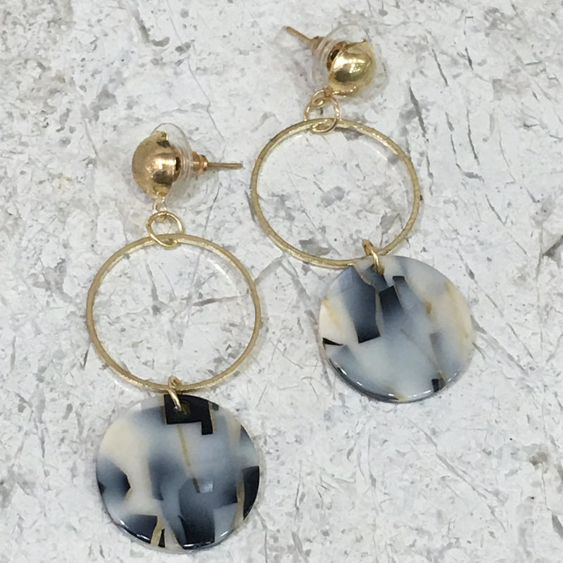 Digital Dress Room Shaded Danglers with Gold Earrings