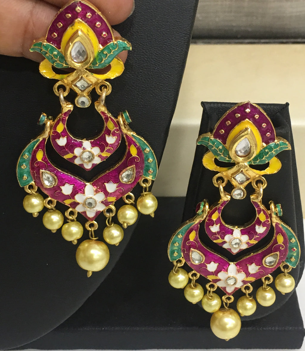 Traditiona Enamel Work Earrings With Gold Pearls