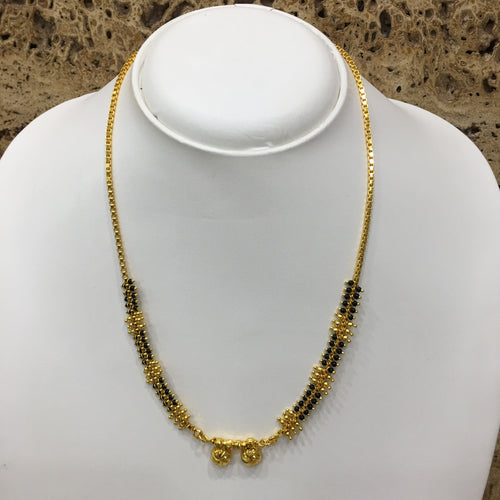 Digital Dress Room Short Mangalsutra Designs Gold Plated Latest 2 Vati Pendant Black & Gold Beads Traditional Mangalsutra
