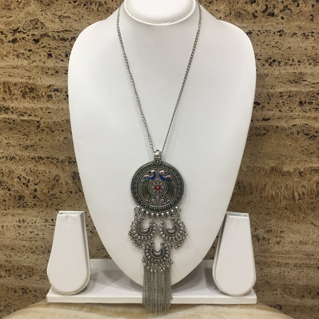 Peacock and Chandbali Design Pendent Necklace