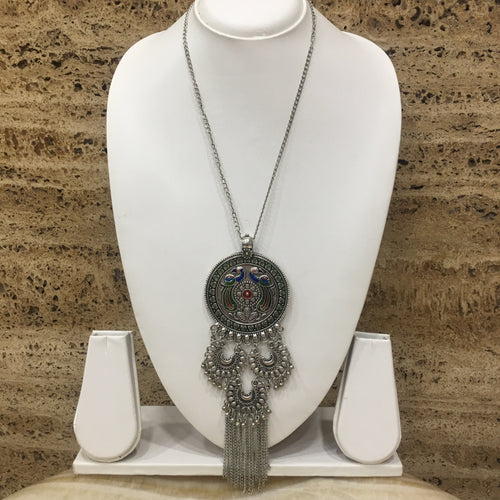 Digital Dress Room Peacock and Chandbali Design Pendent Necklace