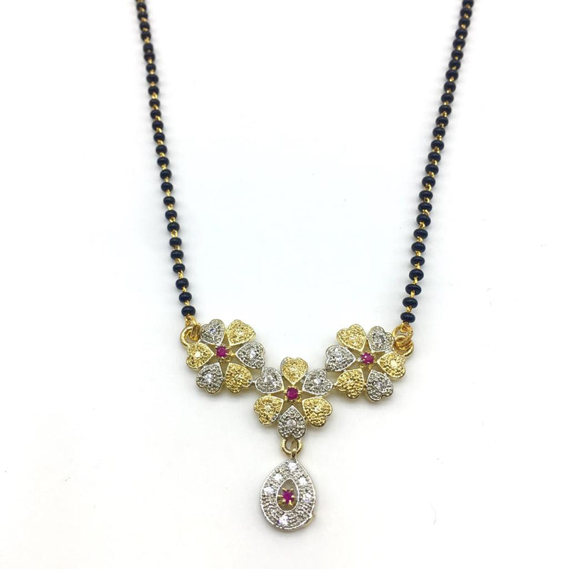 Flower Diamond Design Pendant Single Layer Traditional Short Mangalsutra