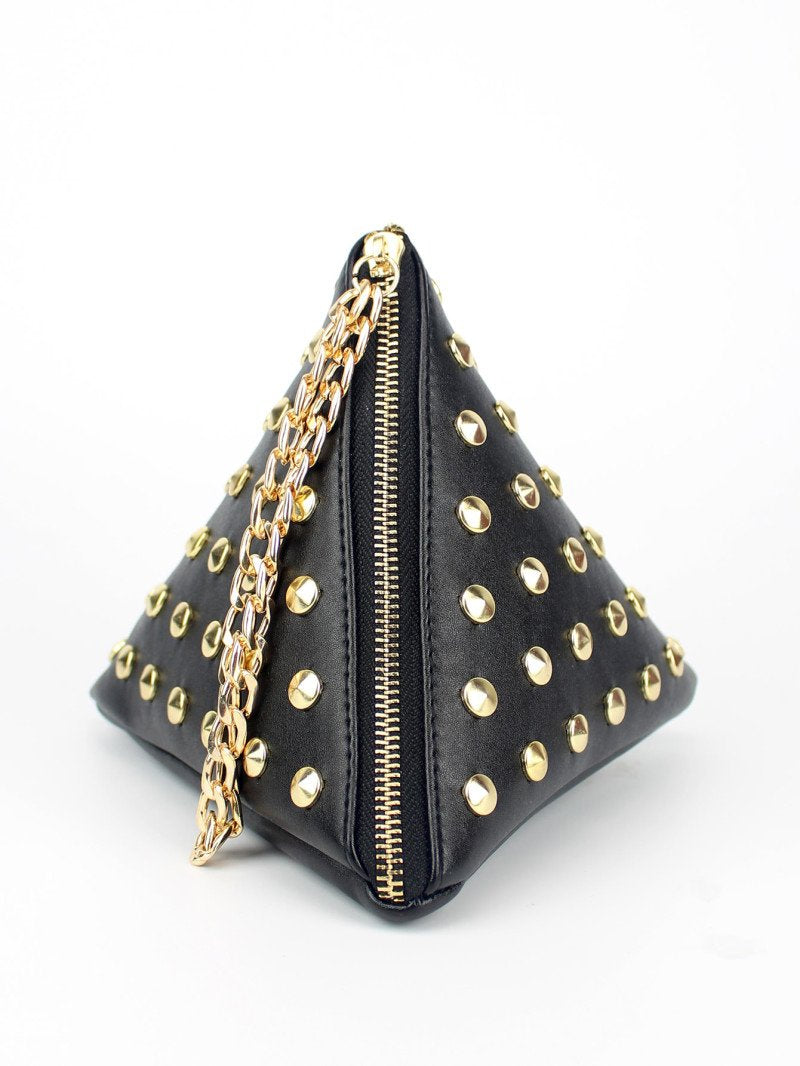 Black Studded Detail Triangle PU Bag