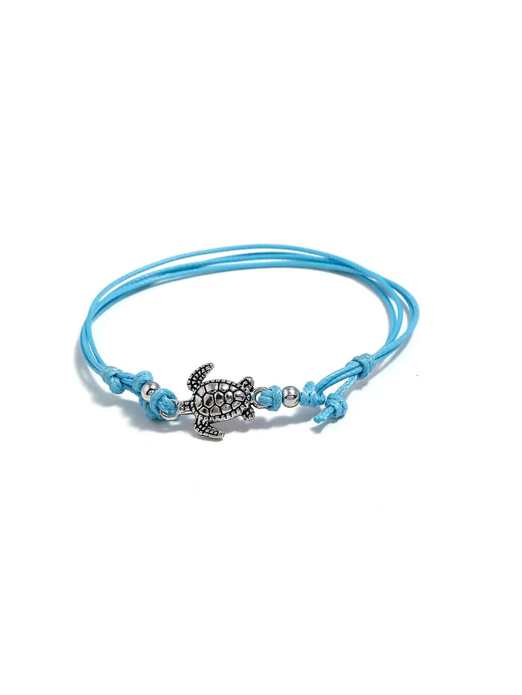 Silver Tortoise with Thread Anklet