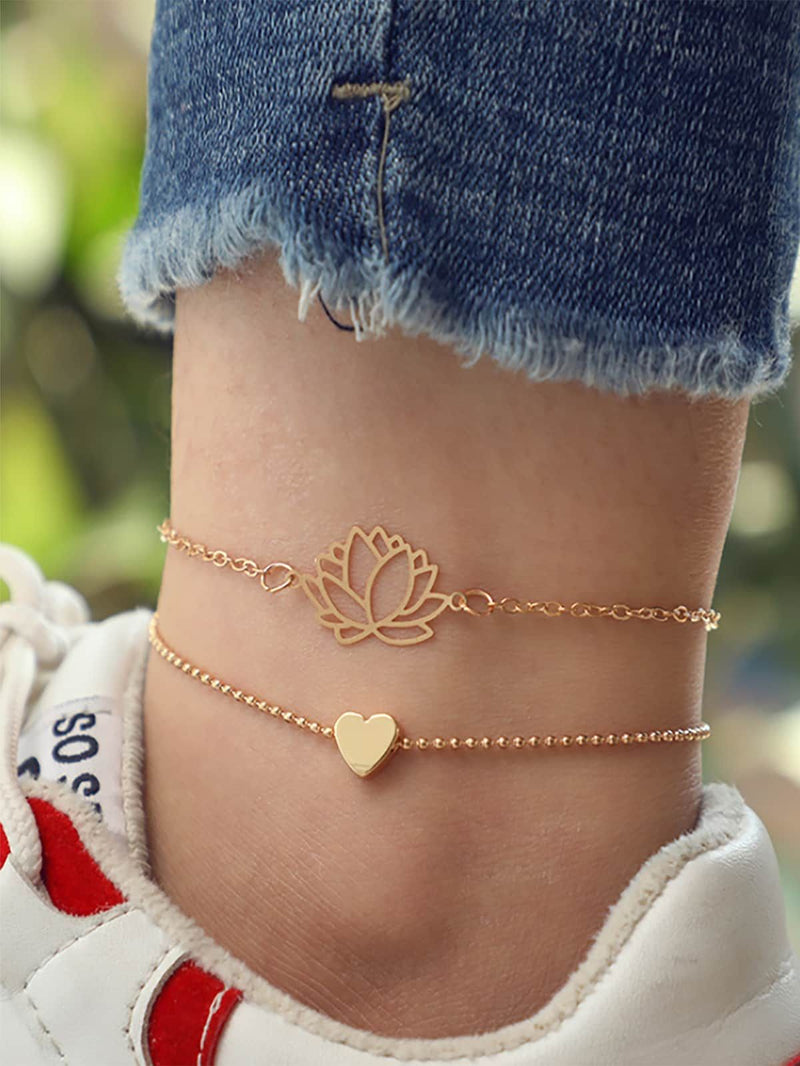 2pcs/set Gold Lotus & Heart Chain Anklet