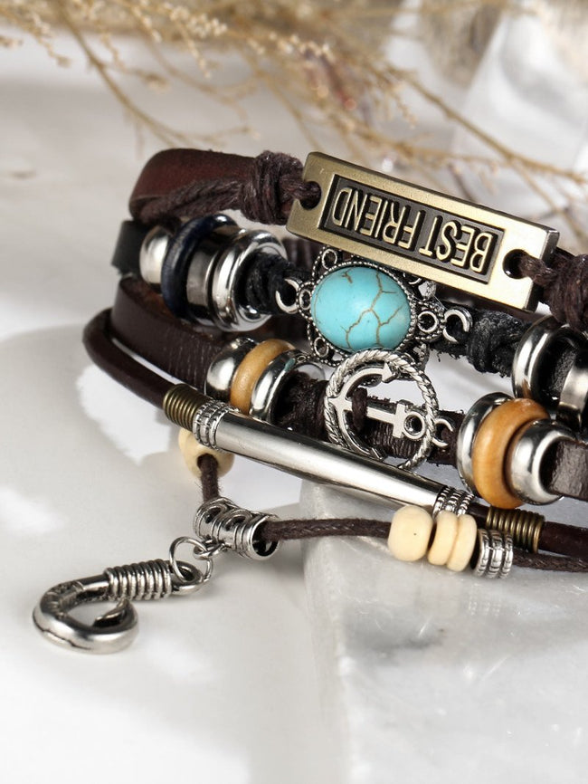 Digital Dress Room Men Bracelet Anchor Detail Layered Adjustable Bangle