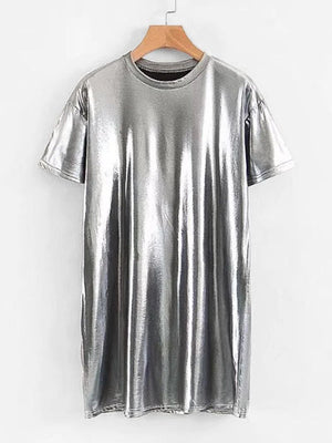 Metallic Silver Mini Dress