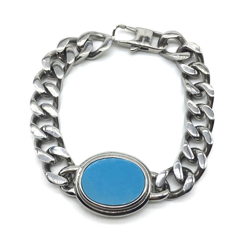 Digital Dress Room Blue Oval Semi Precious Turquoise Rakhi Salman Khan Bracelet