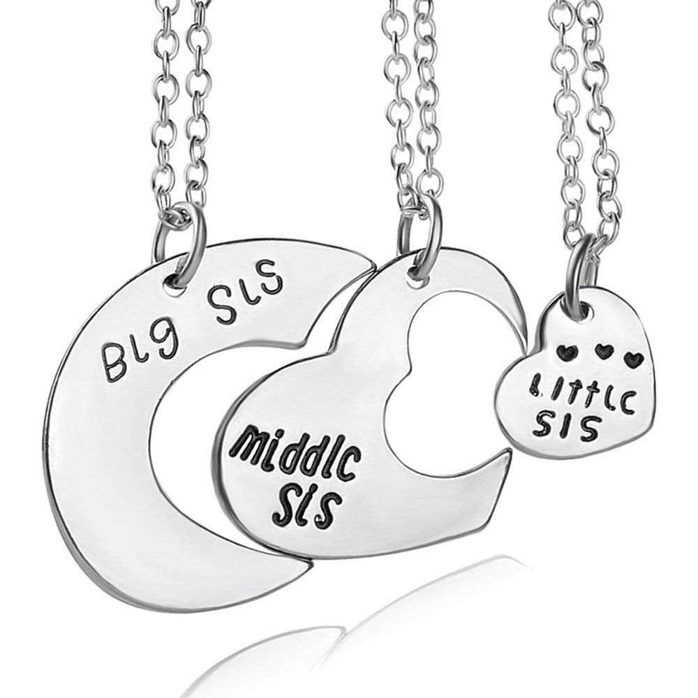 3 Pcs/Set Big Middle Little Sis Heart Moon Pendant Chain Necklace