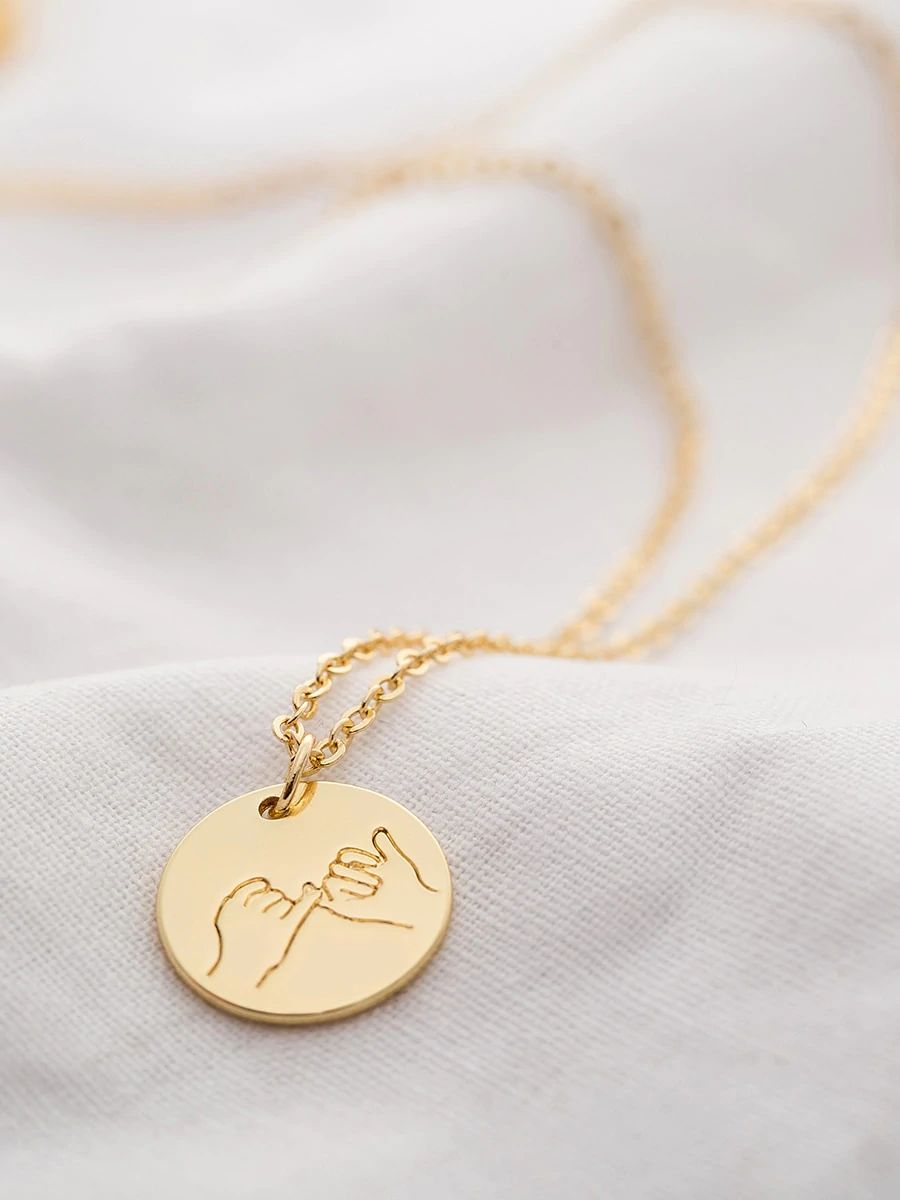 Gold Pinky Promise Hand Engraved Round Pendant Necklace