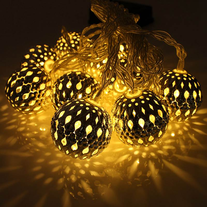 Golden Carved Round Christmas Fairy Lights