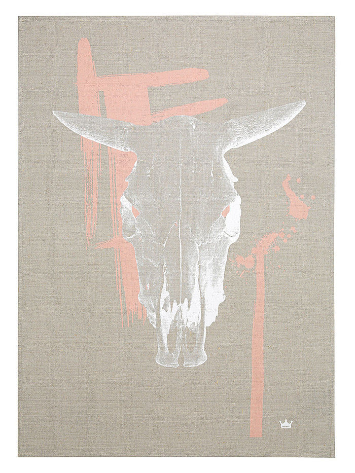 Cow Skull Tea Towel (dark flax)
