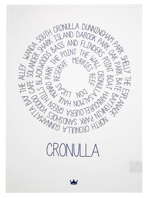 Around Cronulla Tea Towel (navy)