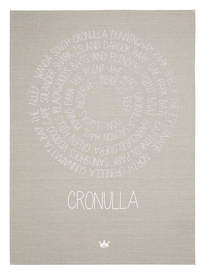 Around Cronulla Tea Towel (white)