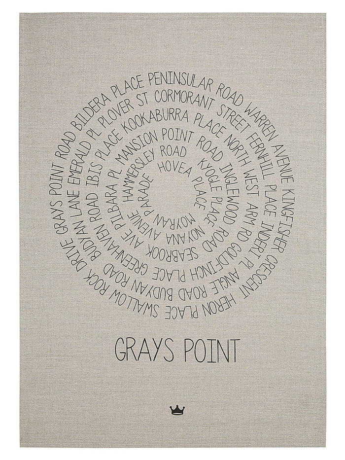 Around Grays Point Tea Towel (black)