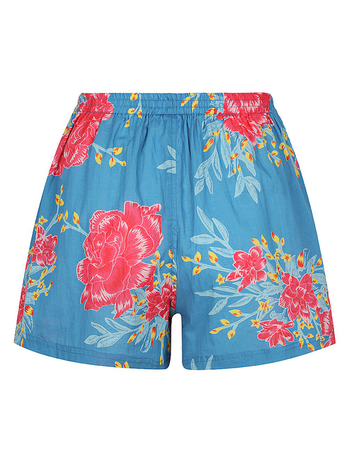 Blue Flower Burst Pyjama Shorts