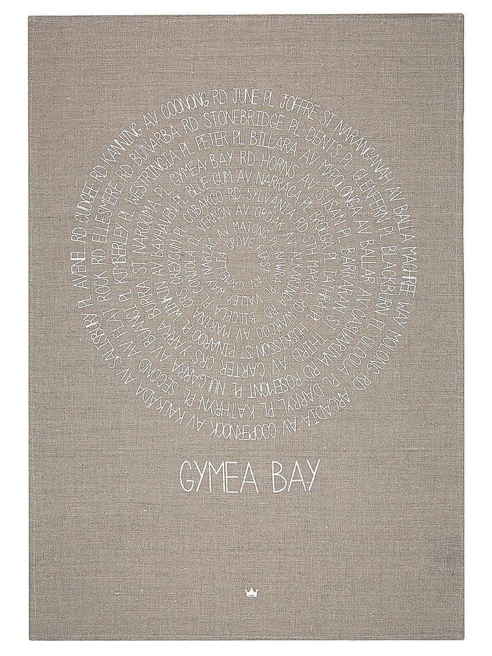 Framed Around Gymea Bay Tea Towel (white)
