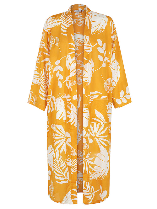 Burnt Orange Palm Kimono