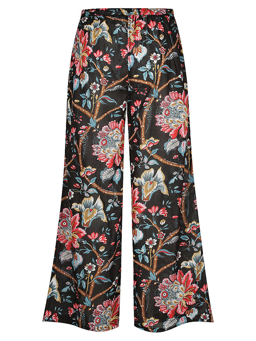 Black Vintage Floral Lounge Pants