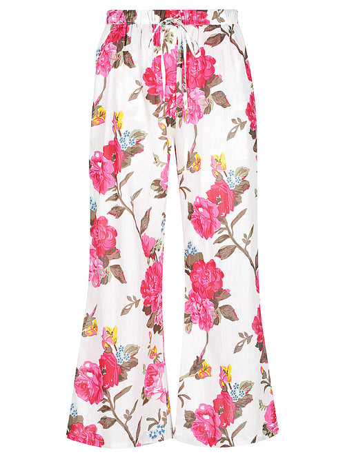 White Rose Print Lounge Pants