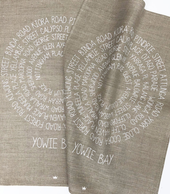 Around Yowie Bay Tea Towel (white)