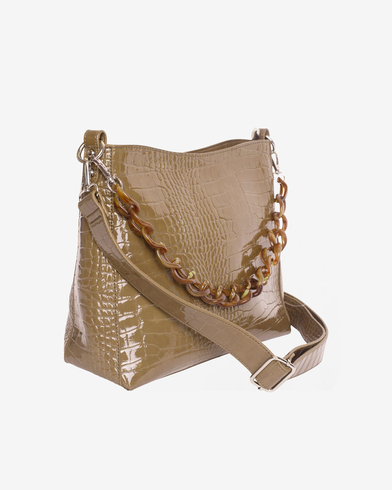 Hvisk AMBLE CROCO Handle Bag 086 Olive