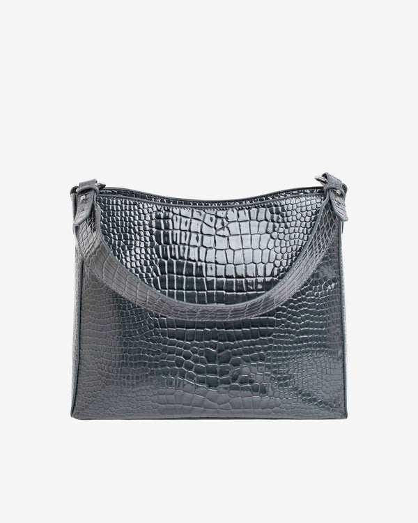 Hvisk AMBLE CROCO Handle Bag 077 Dark Grey