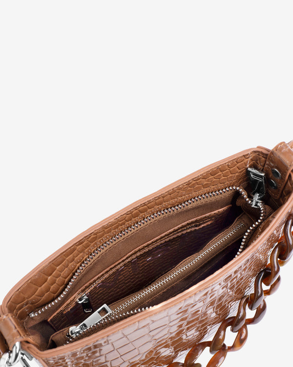 Hvisk AMBLE CROCO SMALL Handle Bag 126 Tawny Brown
