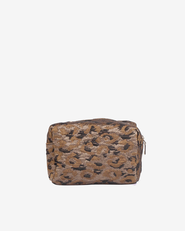 Hvisk AVER LEOPARD SMALL Makeup Bag 113 Silver Brown Multi