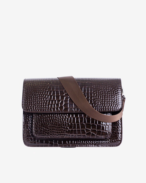 Hvisk BASEL CROCO Crossbody 115 Dark Brown