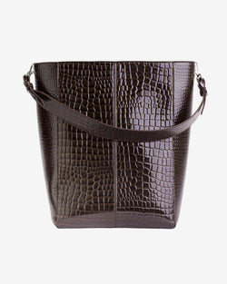 Hvisk CASSET CROCO Crossbody 115 Dark Brown
